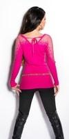 Růžový dámský svetr s krajkou