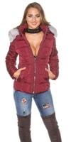 Bordó zimní dámská bunda s kapucí