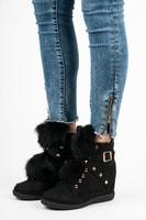 Sneakery s kožíškem černé