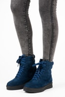 Vázané kotníkové boty na platformě modré