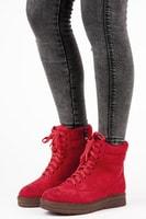 Vázané kotníkové boty na platformě červené