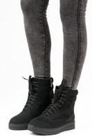 Vázané kotníkové boty na platformě černé