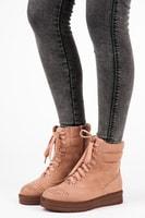 Vázané kotníkové boty na platformě růžové