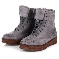 Vázané kotníkové boty na platformě šedé
