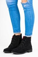Vázané dámské kotníkové boty černé