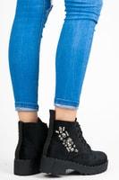 Velurové kotníkové boty s kamínky