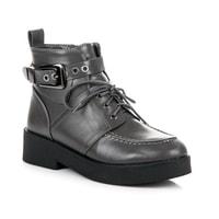 Módní kotníkové boty se sponou šedé