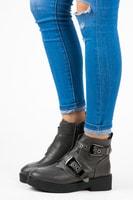 Kotníkové boty s přezkami šedé