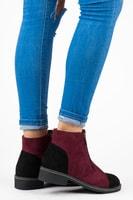 Semišové bordó boty na podzim