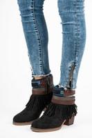 Semišové boho boty černé