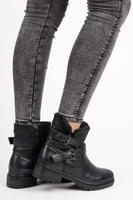Kotníkové boty se sponou v černé barvě