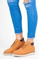 Kotníkové boty na platformě béžové
