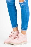 Kotníkové boty na platformě růžové
