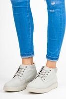 Kotníkové boty na platformě světle šedé