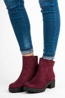 Casual kotníkové bordó podzimní boty