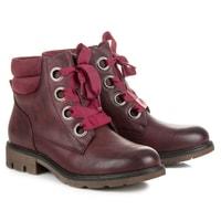 Bordó kotníkové boty vázané stužkou