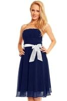 Dámské plesové šaty s mašlí modré