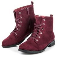 Semišové kotníkové bordó boty