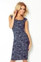 Elegantní dámské šaty s tmavě modrými růžemi