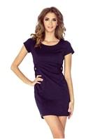 Tmavě modré šaty s krátkým rukávem a ozdobami s knoflíky v pase