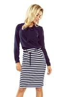 Dámská modrobílá pruhovaná sukně s kapsami