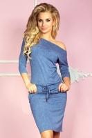 Sportovní elastické šaty. Barva světle modrá džínovina