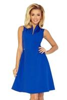 Modro-fialové šaty se stojáčkem a výstřihem do V