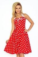 Dámské šaty v Pin up stylu, zavazování za krkem, červené s bílými puntíky