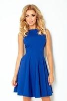 Modro fialové dámské šaty s výstřihem