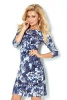 Dámské modré šaty s ¾ rukávy