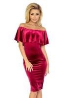 Bordó šaty s volánem, španělský styl.