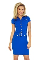 Modro-fialové šaty s knoflíky