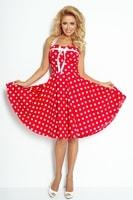 Dámské šaty se širokou sukní bez ramínek - červené s bílými puntíky