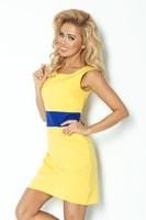Žluté šaty s fialovo modrým páskem
