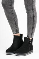 Semišové kotníkové boty na platformě