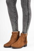 Nízké kotníkové boty s třásněmi hnědé