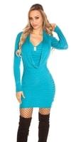 Dámské azurové šaty z úpletu