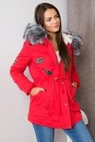 Dámská červená zimní parka s kapucí