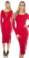 Dlouhé červené úpletové šaty