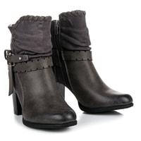 Šedé kotníkové boty na podpatku