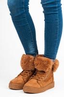 Semišové kotníkové boty na platformě béžové