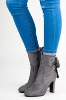Semišové kotníkové boty vázané stužkou šedé