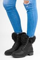 Kotníkové boty s kožíškem černé