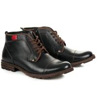Kožené boty se zipem černé
