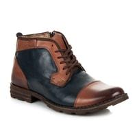 Kožené boty se zipem modré