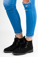 Nízké kotníkové boty se stužkou černé