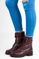 Bordó vázané kotníkové boty