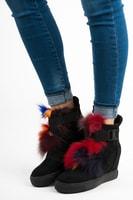 Kotníkové boty s kožíškem na klínu černé