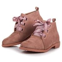 Nízké kotníkové boty vázané stužkou růžové