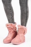 Semišové kotníkové sněhule růžové